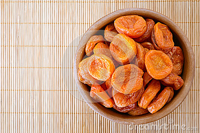 Plate with dried apricots