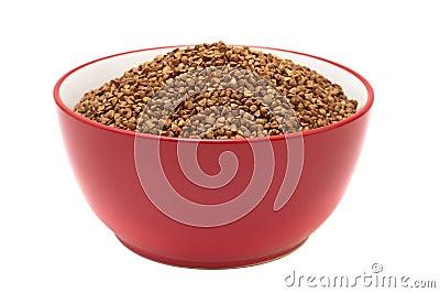 Plate with dry buckwheat