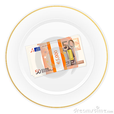 Plate and fifty euro pack