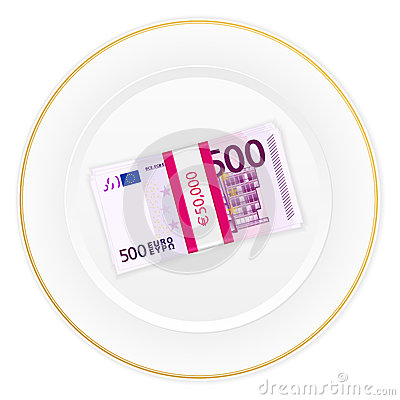 Plate and five hundred euro pack