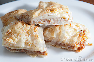 Plate of flaky baklava