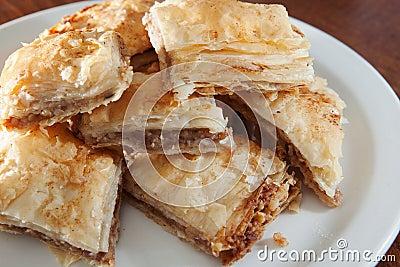 Plate of flaky baklava