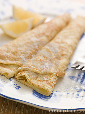 Plate of Folded Pancakes Lemon and Sugar