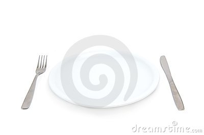 Plate with fork and knife