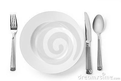Plate with fork, knife and spoon