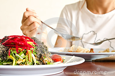Plate of fresh colorful  organic salad