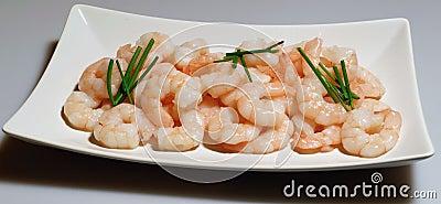 A plate of fresh prawns