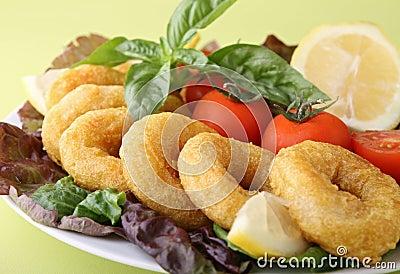 Plate of fried calamari ring
