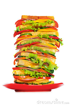 Plate with giant sandwich