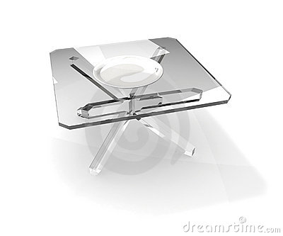 Plate on glass table