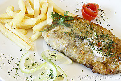 Plate of gourmet hake fish and chips