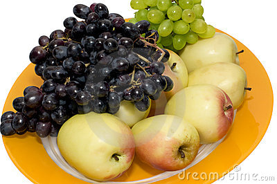 The Plate of grapes and apples