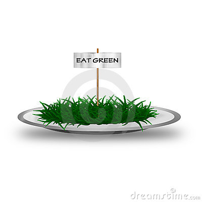Plate with green grass and text Eat green