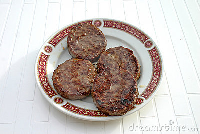 Plate of grilled burgers