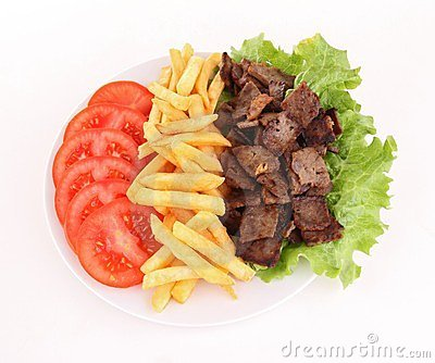 Plate of grilled meat and french fries