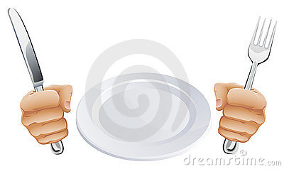 Plate and hands holding cutlery