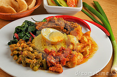 Plate of indonesian food