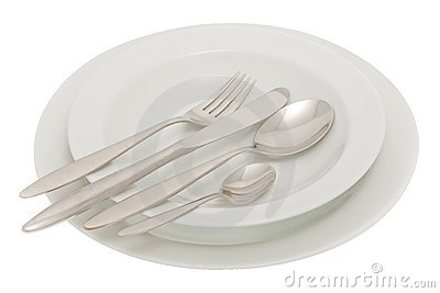 Plate with knife, fork and spoon