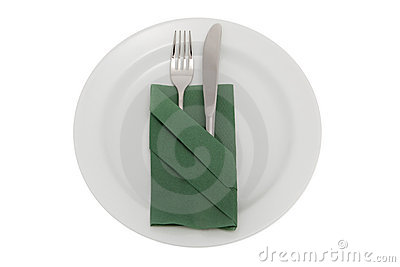 Plate with knife, fork and table napkin