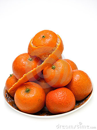 Plate with mandarins