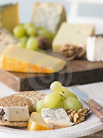 Free Plate Of Cheese And Biscuits With A Cheese Board Stock Images - 5629024