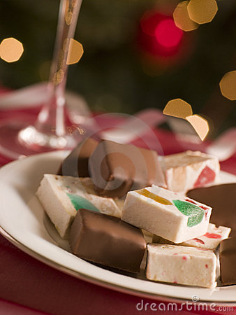 Free Plate Of Chocolate Dipped And Plain Nougat Royalty Free Stock Photo - 5603645