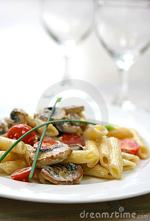 Free Plate Of Mushroom Pasta With Cream And Tomatoes Stock Photo - 2048930
