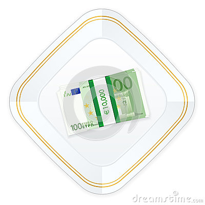 Plate and one hundred euro pack