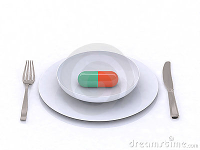Plate with pill