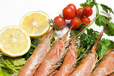 Plate With Raw Prawns