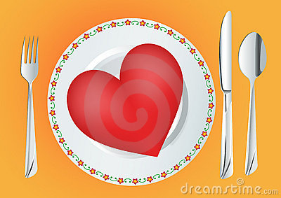 Plate with red heart