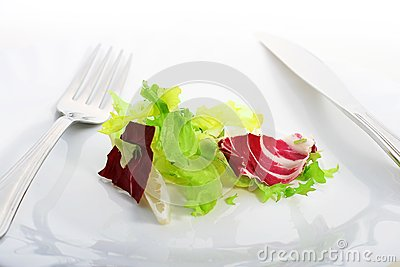 Plate with salad.