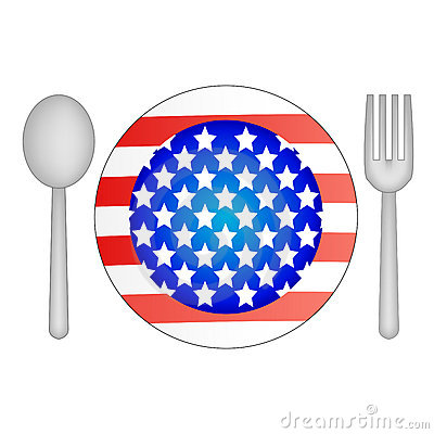 Plate in the shape of USA flag