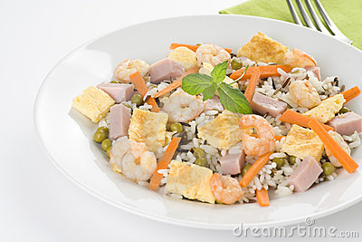Plate of shrimp fried rice peas ham omelette