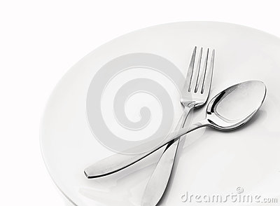 Plate with spoon and fork