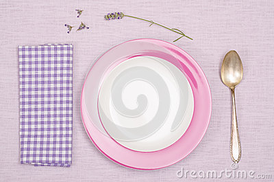 Plate, spoon, napkin with lavender flowers