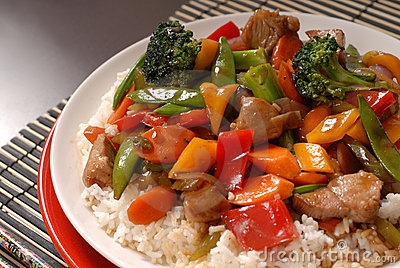 Plate of stir fry pork