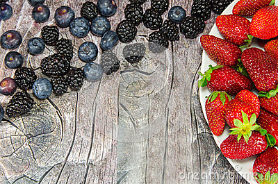 Plate with strawberries and other berries
