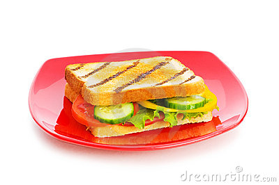 Plate with tasty sandwich