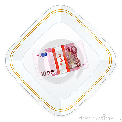 Plate and ten euro pack