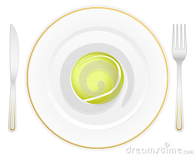 Plate and tennis ball
