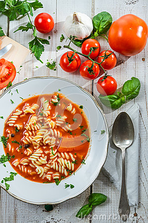 Plate of tomato soup made of fresh tomatoes