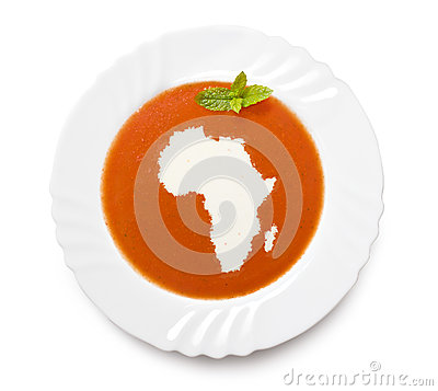 Free Plate Tomato Soup With Cream In The Shape Of Afric Stock Images - 42256954