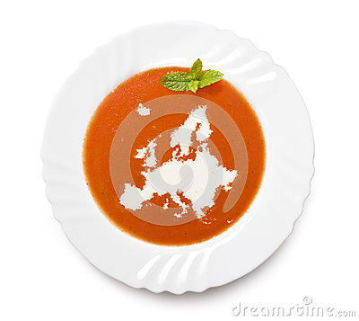 Free Plate Tomato Soup With Cream In The Shape Of Europ Royalty Free Stock Image - 42256956
