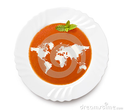 Free Plate Tomato Soup With Cream In The Shape Of World.(series) Royalty Free Stock Photo - 42256965