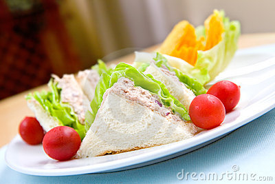 Plate of tuna sandwich served with crisp,