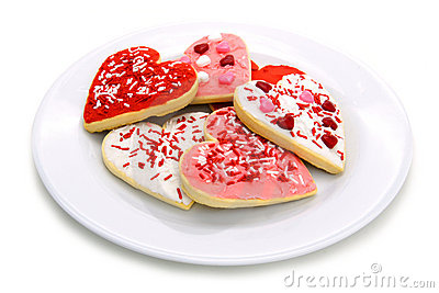 Plate of Valentines Day cookies