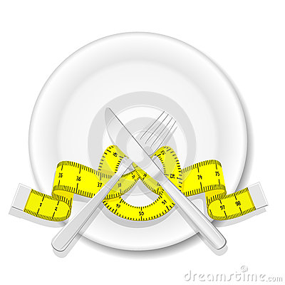 Free Plate With Knife, Fork And Measure Tape Stock Image - 39403841