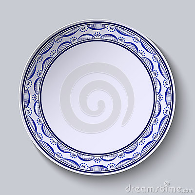 Free Plate With Ornament In Gzhel Style Of Painting On Porcelain. Thin Pattern With Flowers On The Edge. Royalty Free Stock Images - 64856349