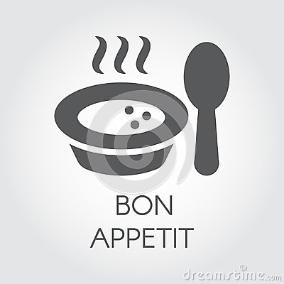 Free Plate With Spoon Flat Icon. Portion Of Hot Food With Steam And Wish Bon Appetit. Label For Culinary Design Needs Royalty Free Stock Photo - 98872715